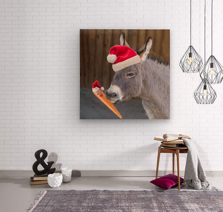 Donkey with Santa hat  Wood print