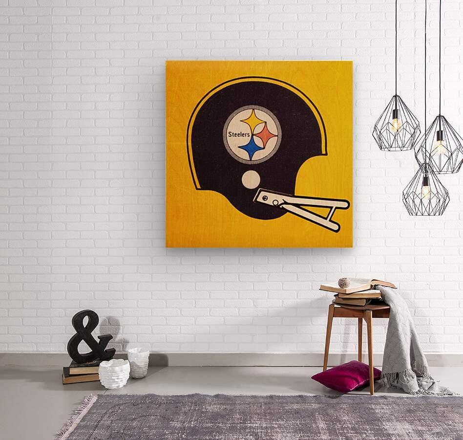 Vintage Pittsburgh Steelers Football Helmet Art  Wood print