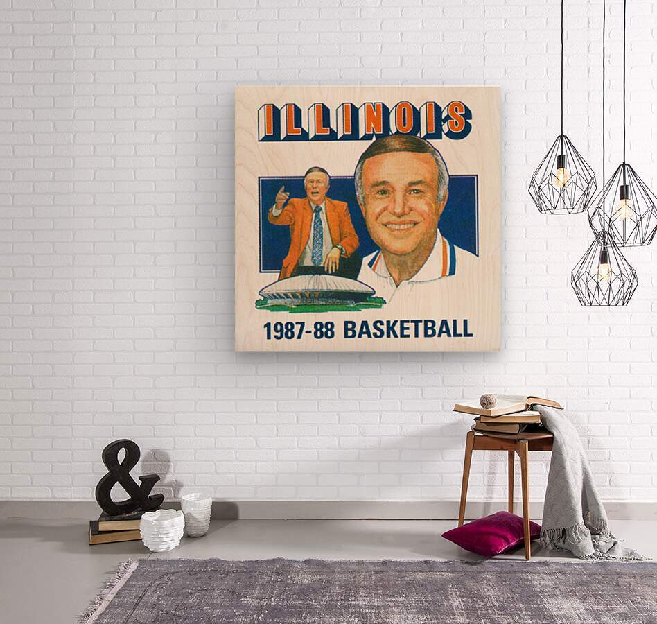 1987 Illinois Basketball Lou Henson  Wood print