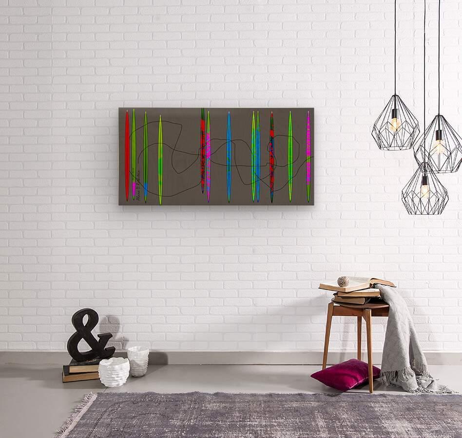 HorizonGreenGrey  Wood print