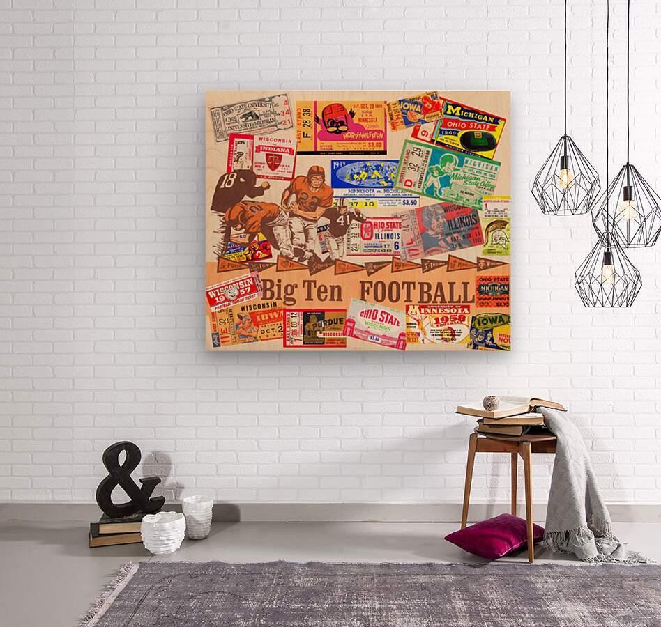 Big Ten Football Ticket Stub Collage  Wood print