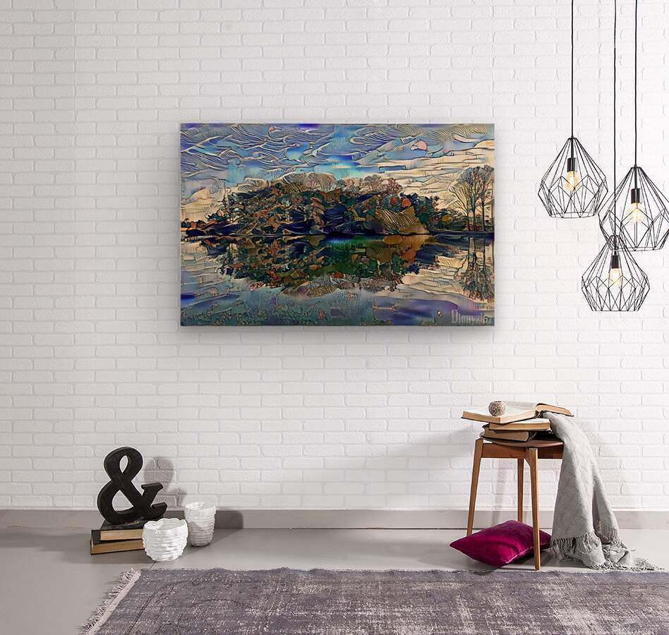 Japanese lake   Wood print