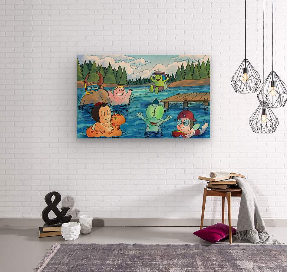 Summer Camp - at the lake - Bugville Critters  Wood print