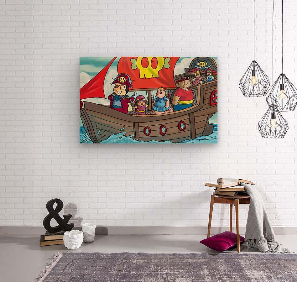 Pirate Ship on the High Seas - Bugville Critters  Wood print