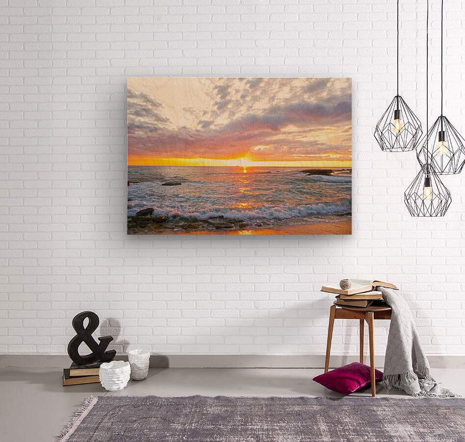 Golden Rays Across the Bay  Wood print