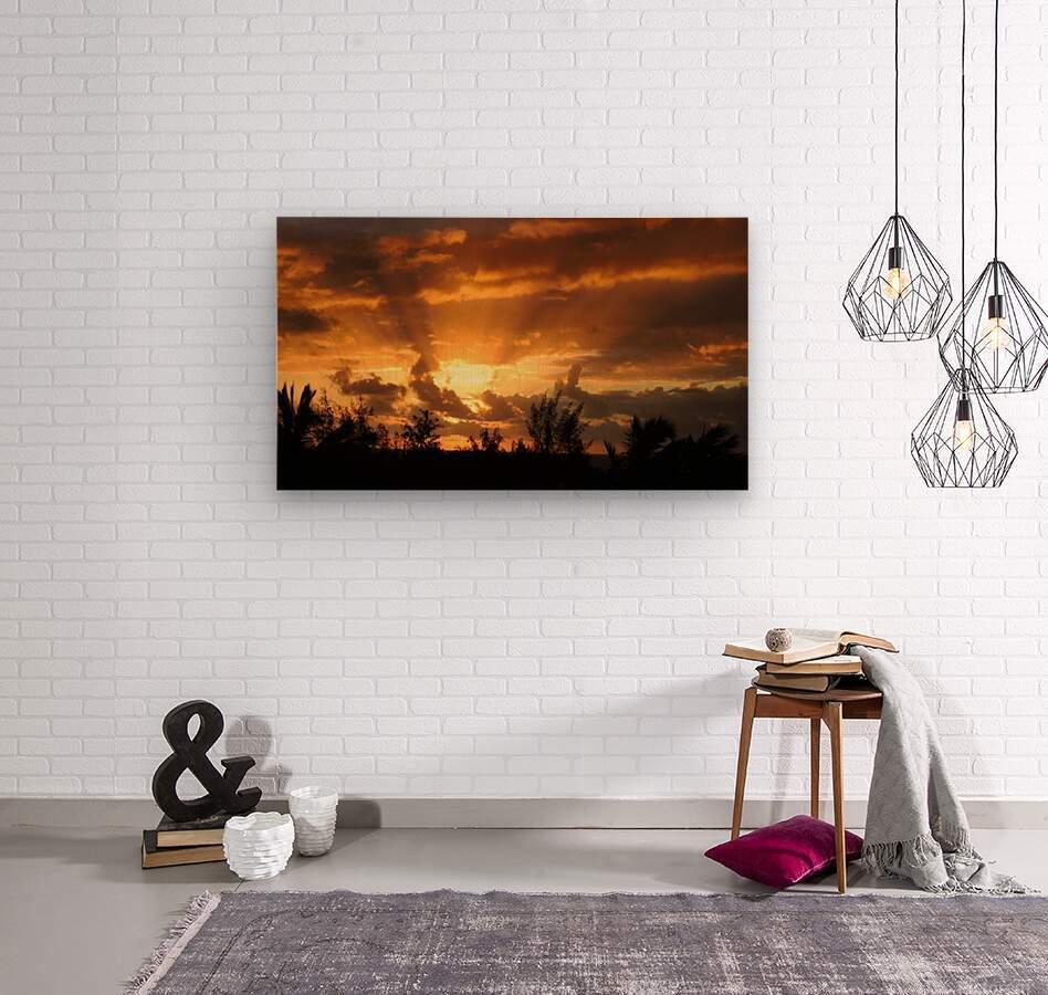 Golden Heavens  Wood print