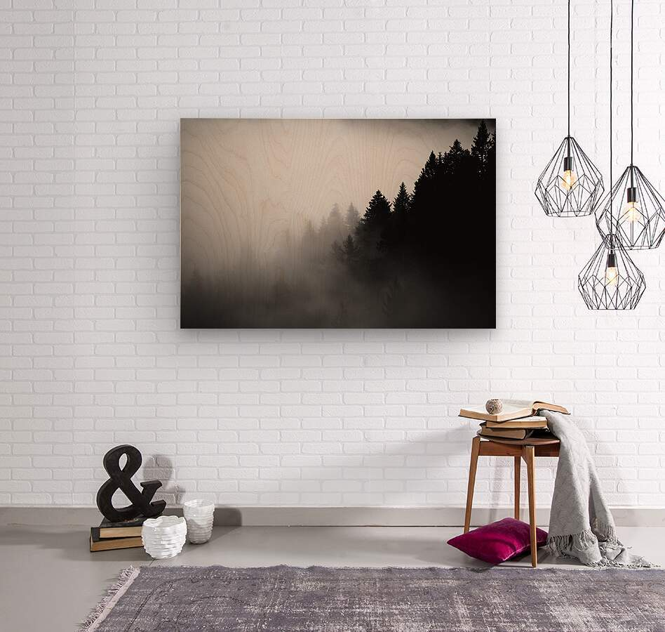Pine trees in the fog  Wood print