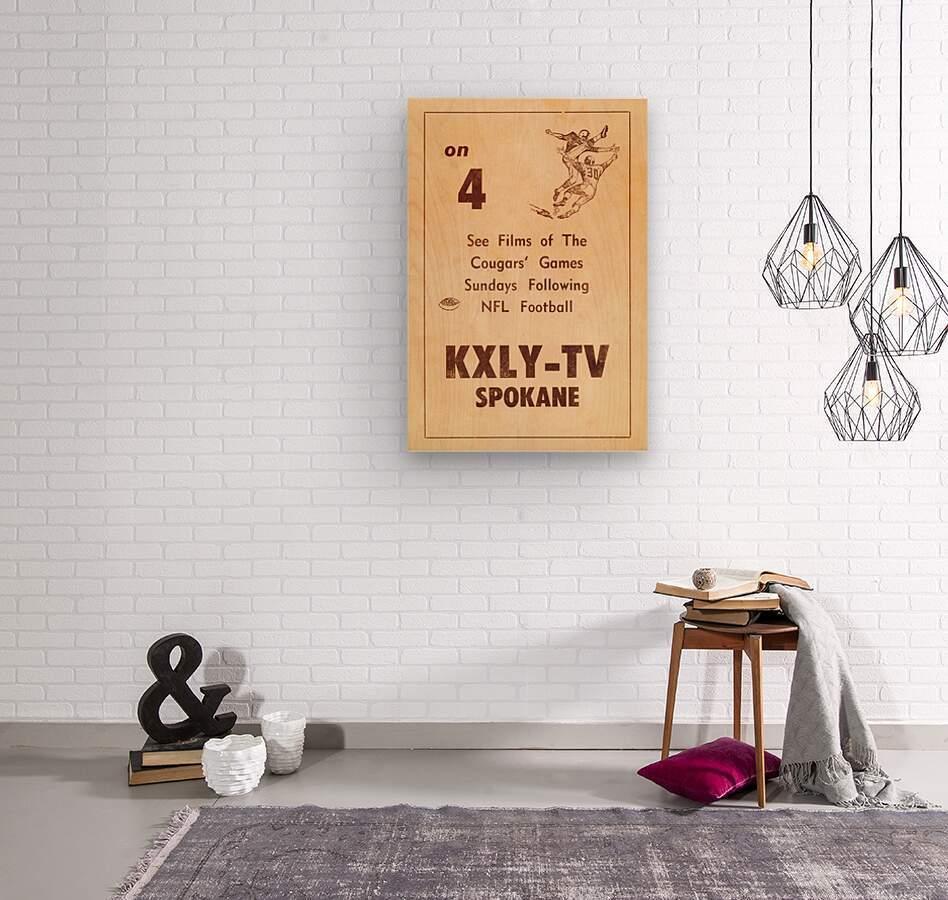 1962 kxly tv spokane football ad  Wood print
