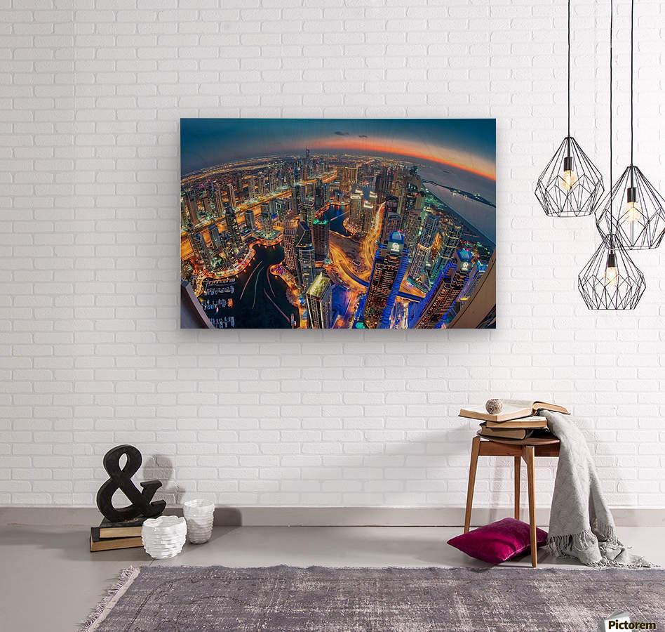 Dubai Colors of Night  Wood print