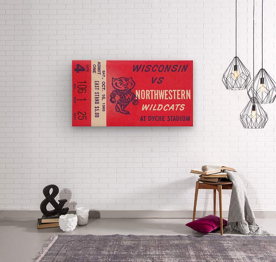 1965 Northwestern vs. Wisconsin  Wood print