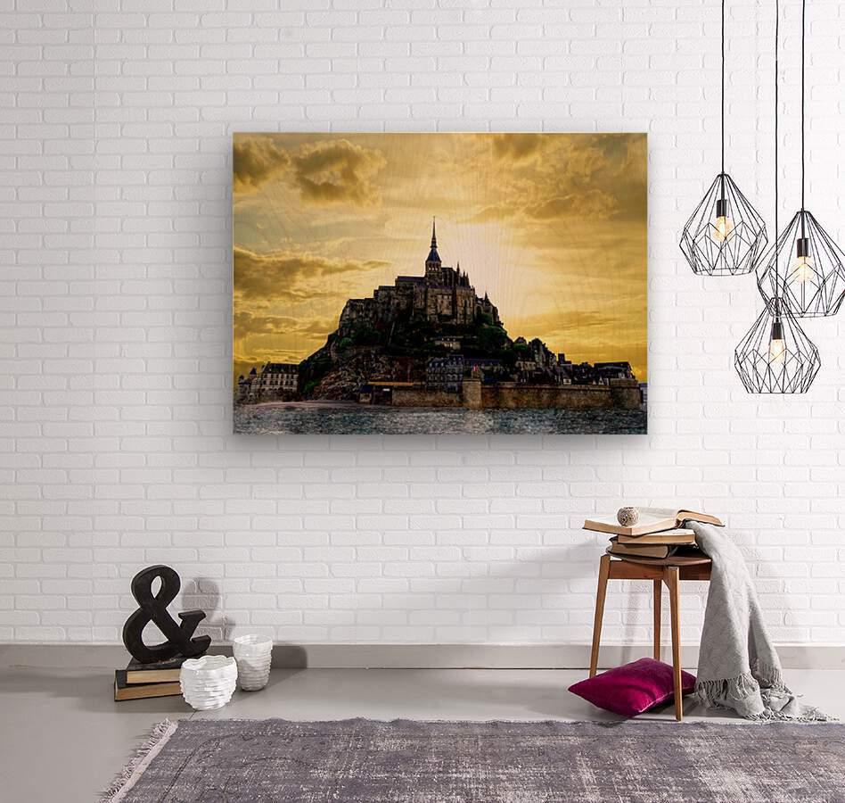 Golden Mont St Michel  Wood print