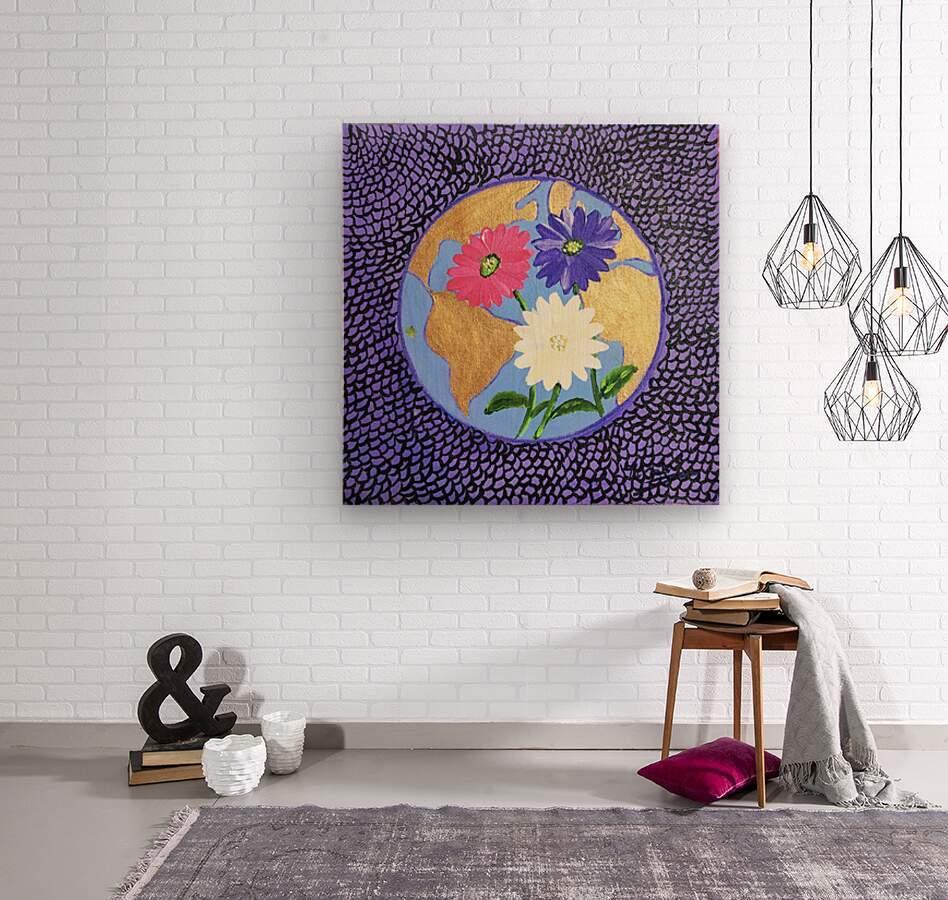 The Earth Daisy Husama Styl-Background  Wood print