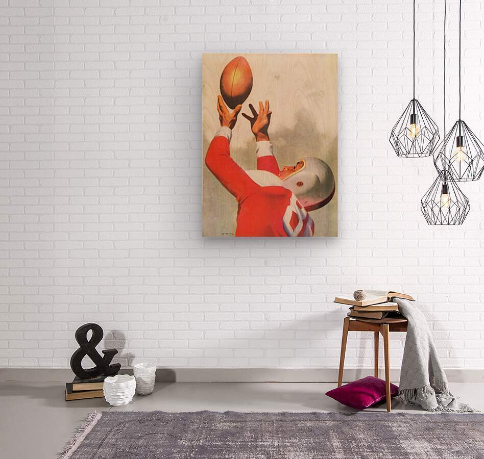Sports Artist Lon Keller Football Art 1947  Wood print