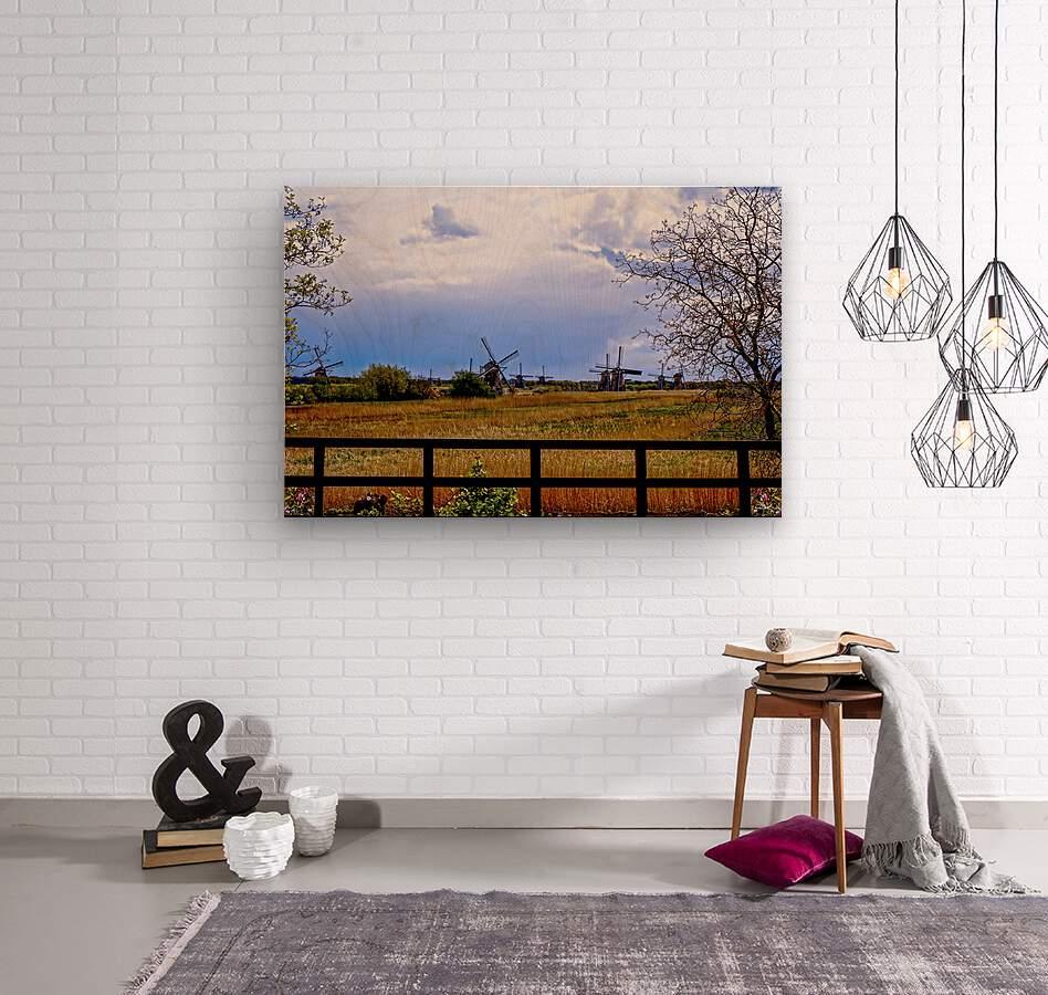 Windmills in Spring  Wood print