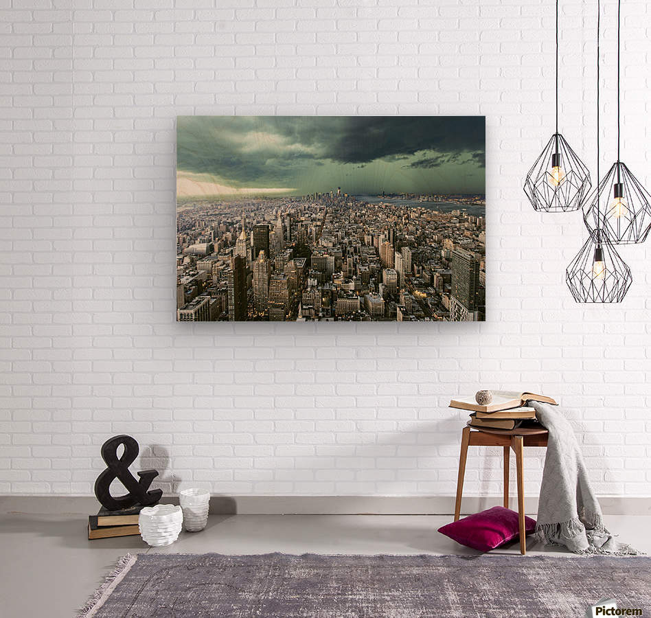 New-York under storm by Pagniez    Wood print