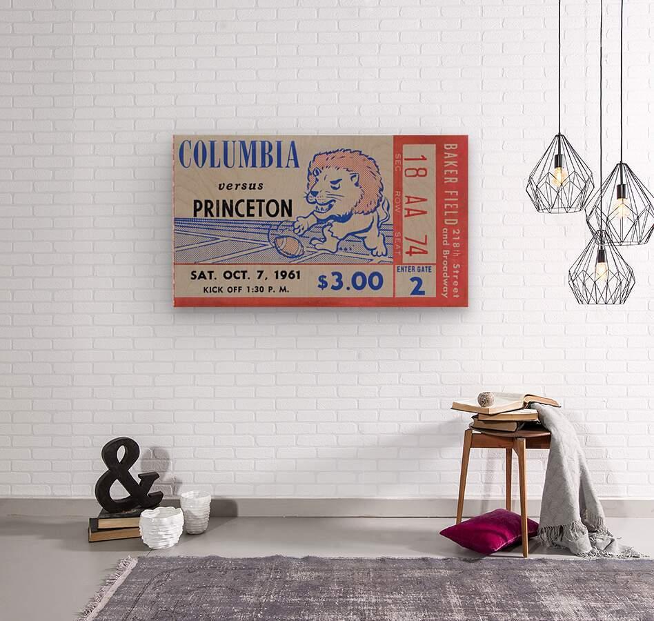 1961 Columbia vs. Princeton Ticket Stub Art  Wood print