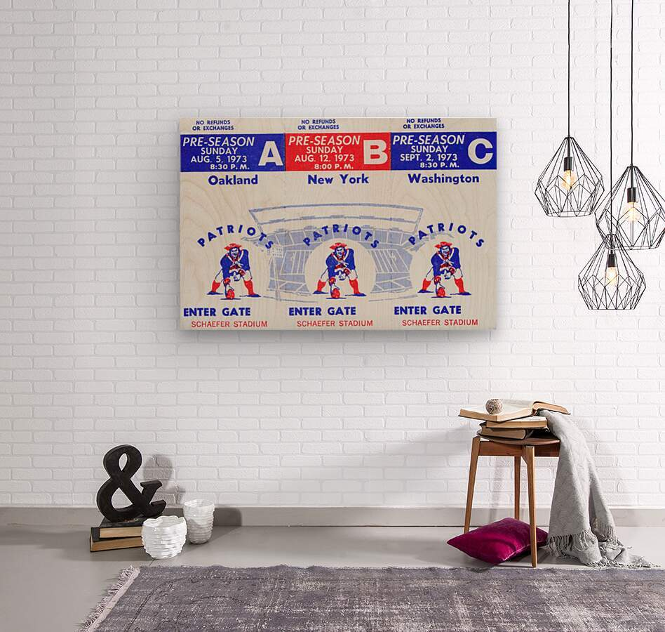 1973 New England Patriots Season Tickets  Wood print