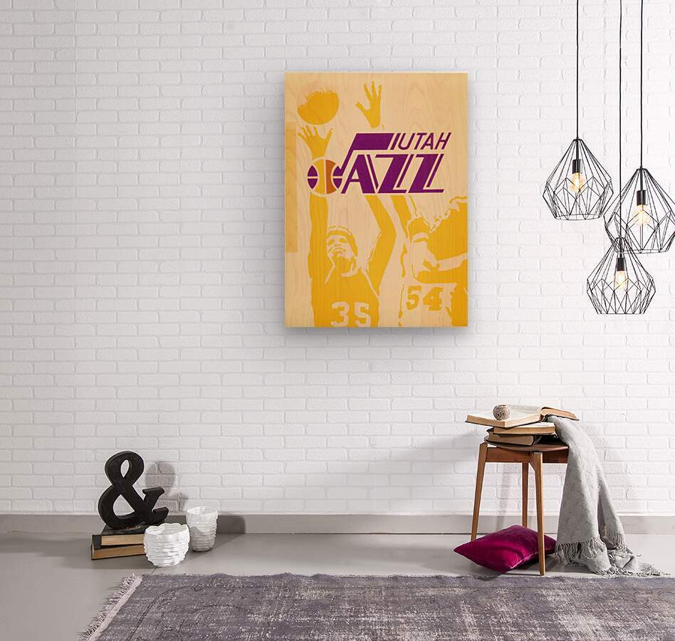 1980 Utah Jazz Retro Basketball Art  Wood print