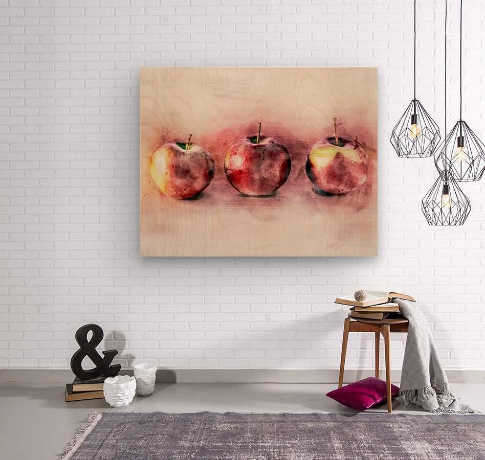 Three Apples  Wood print