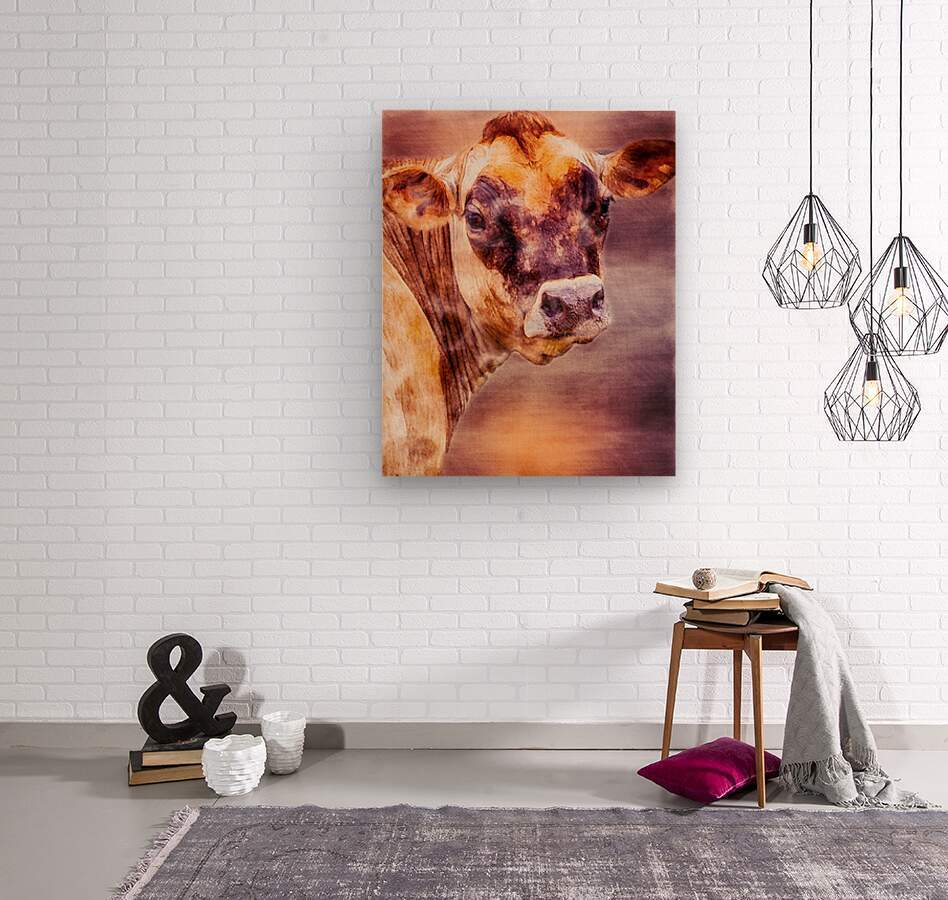 Beautiful Dairy Cow  Wood print