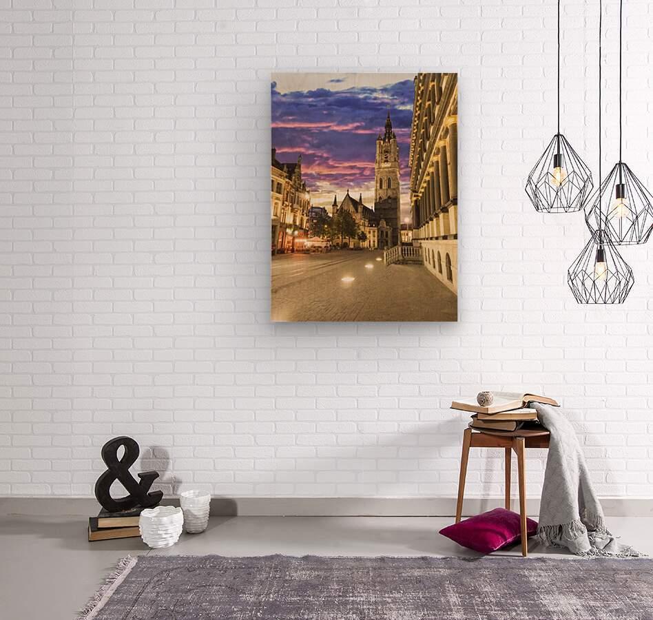 Sunset in Belgium  Wood print