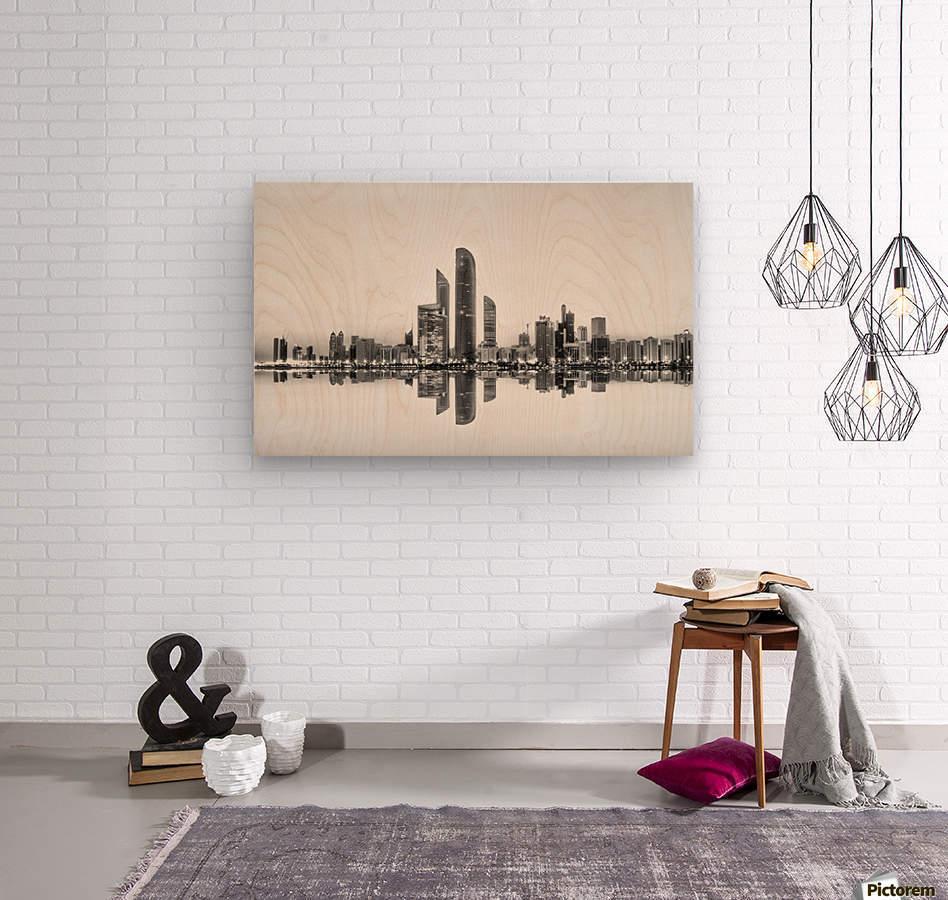 Abu Dhabi Urban Reflection  Wood print