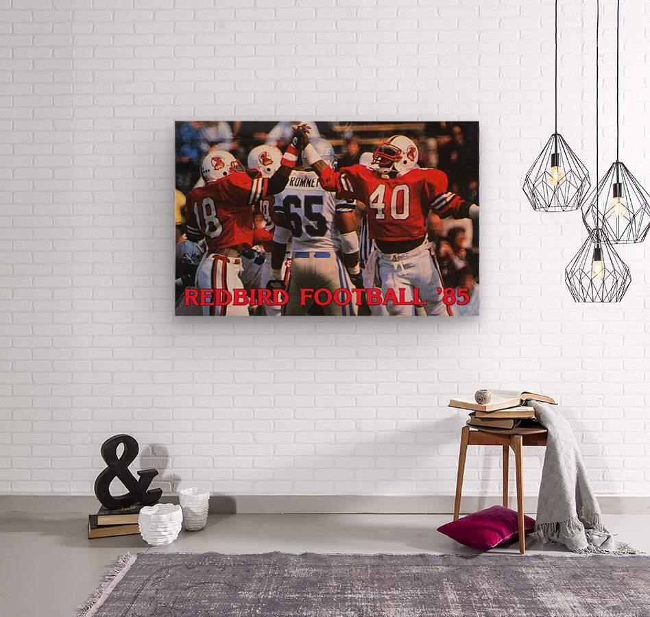 1985 Illinois State Redbirds Football Poster  Wood print