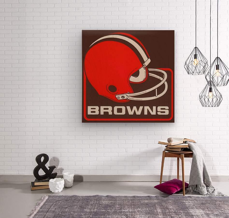 Retro Cleveland Browns Helmet Art  Wood print