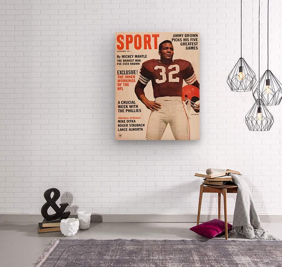 1964 Sport Magazine Jim Brown Cover Art  Wood print