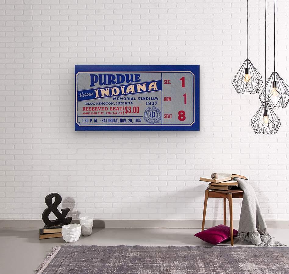 1937 Indiana vs. Purdue Ticket Stub Art  Wood print