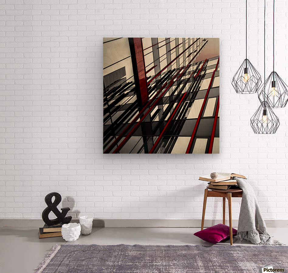 red lines by Gilbert Claes   Wood print