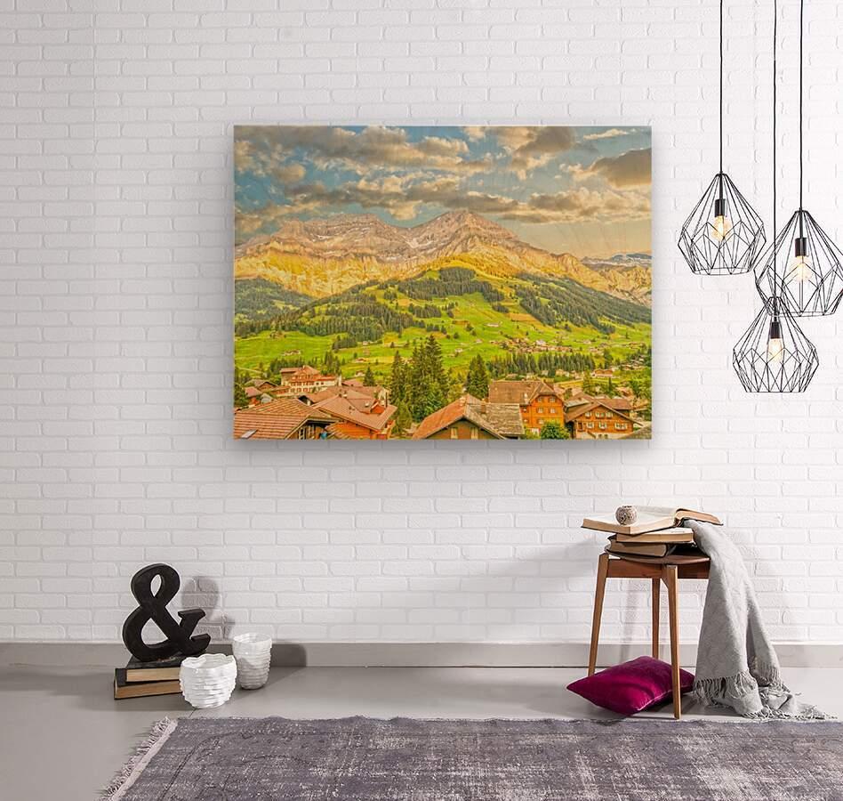 Golden Rays in the Mountains Alpine Village Switzerland  Wood print