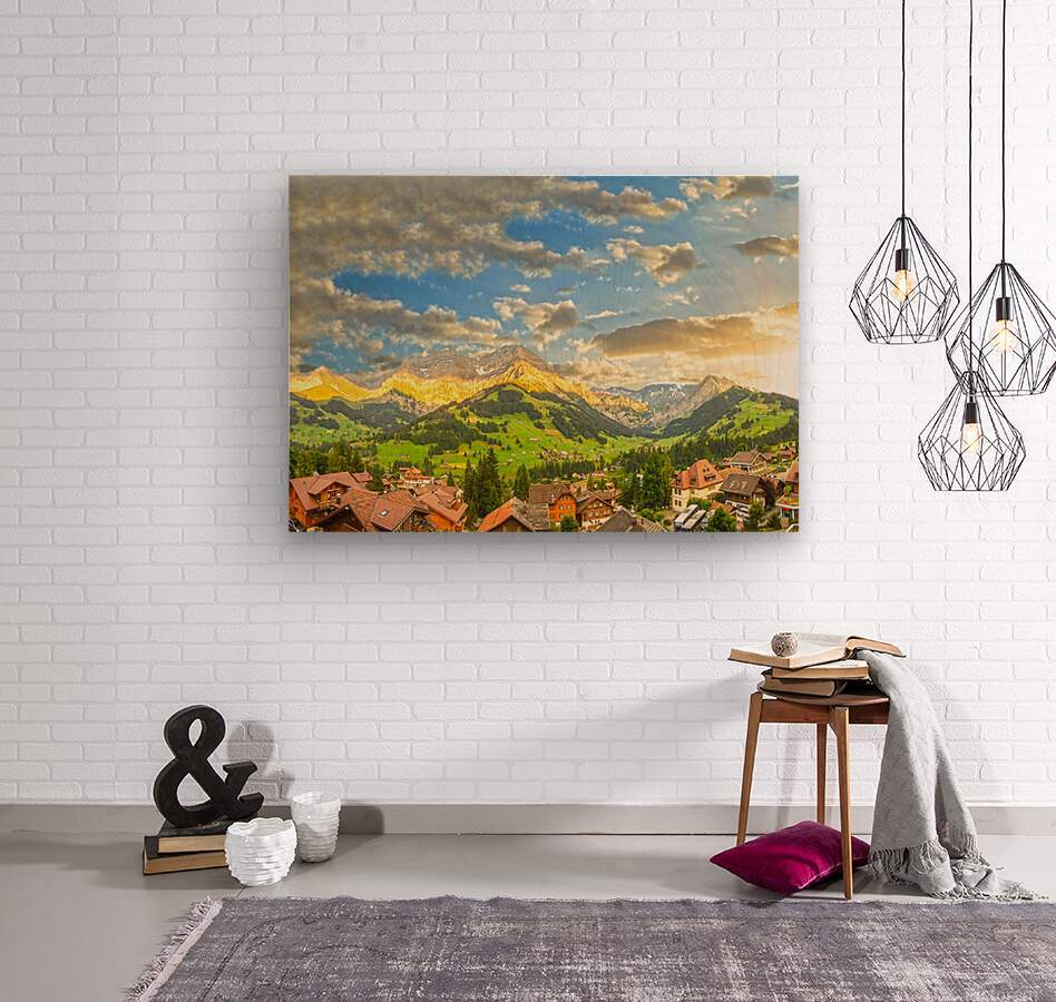 Golden Rays Across The Swiss Alps with Waterfalls  Wood print