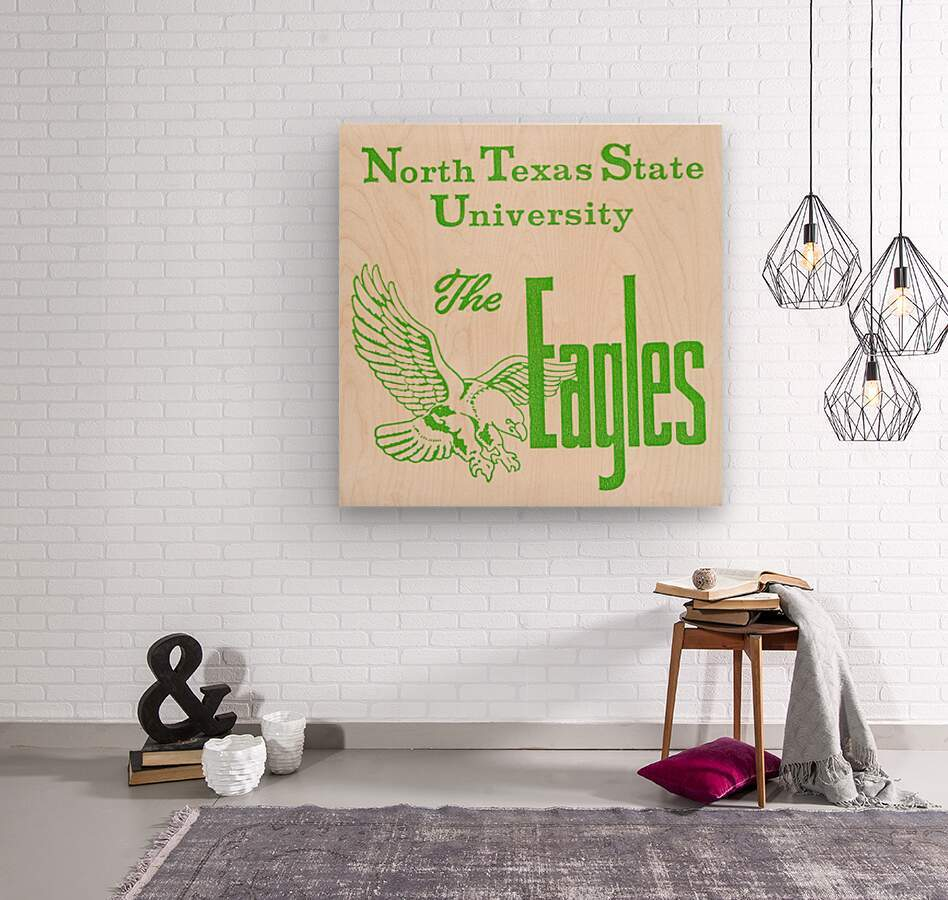 Vintage North Texas State University Eagles Art  Wood print
