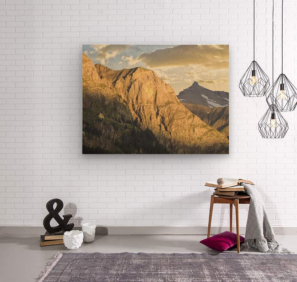Golden Rays of the Sun on the Swiss Alps in the Bernese Highlands  Wood print