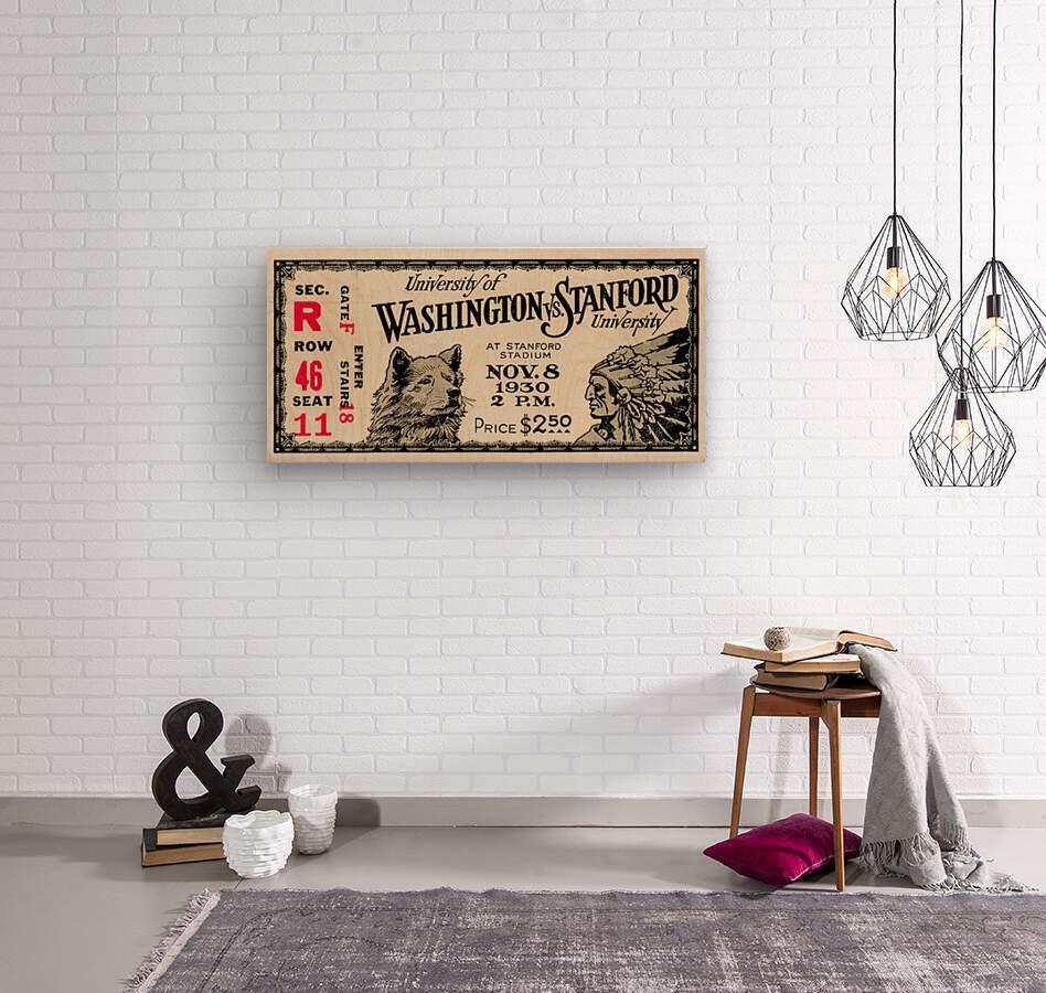 1930 Washington vs. Stanford Ticket Stub Art  Wood print