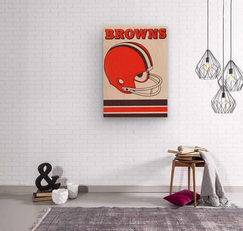 1975 Cleveland Browns Helmet Art  Wood print