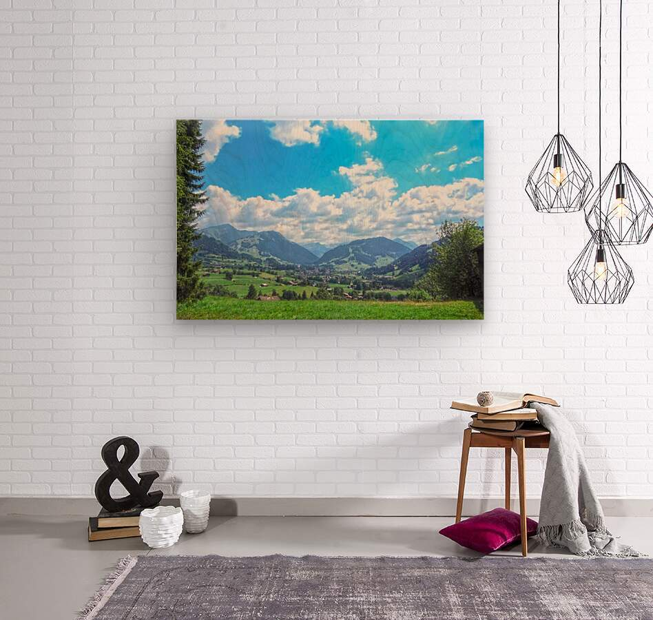 The Last Paradise in a Crazy World Gstaad Switzerland  Wood print