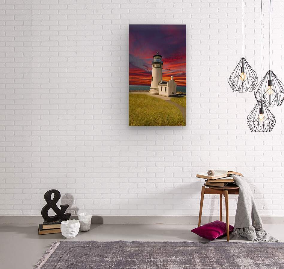 The LightHouse at Sunset  Wood print