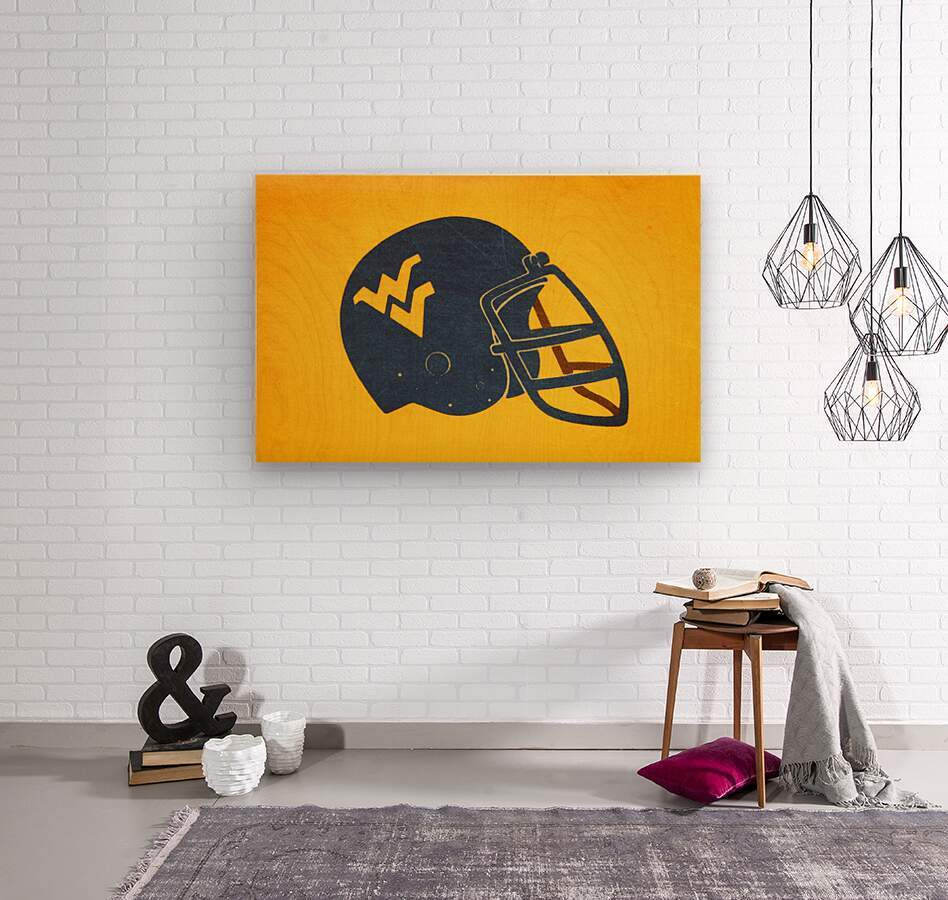 1985 West Virginia Mountaineers Football Helmet Art  Wood print