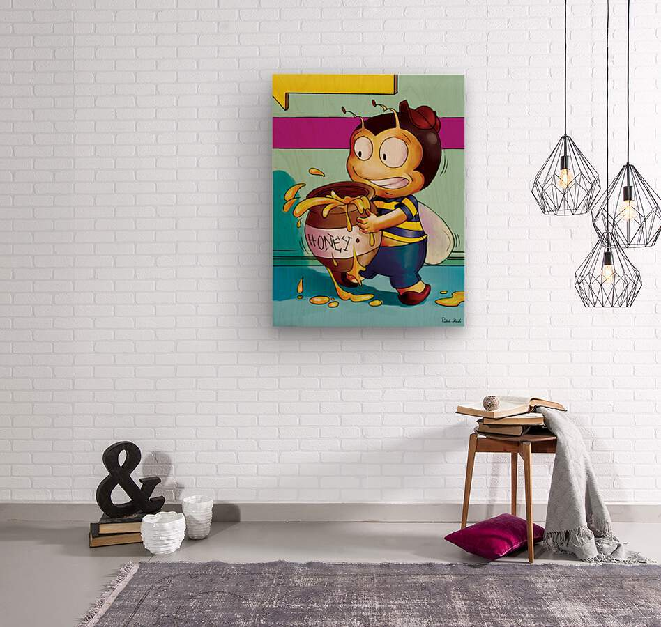 Be Careful with the Honey Buster Bee  Wood print