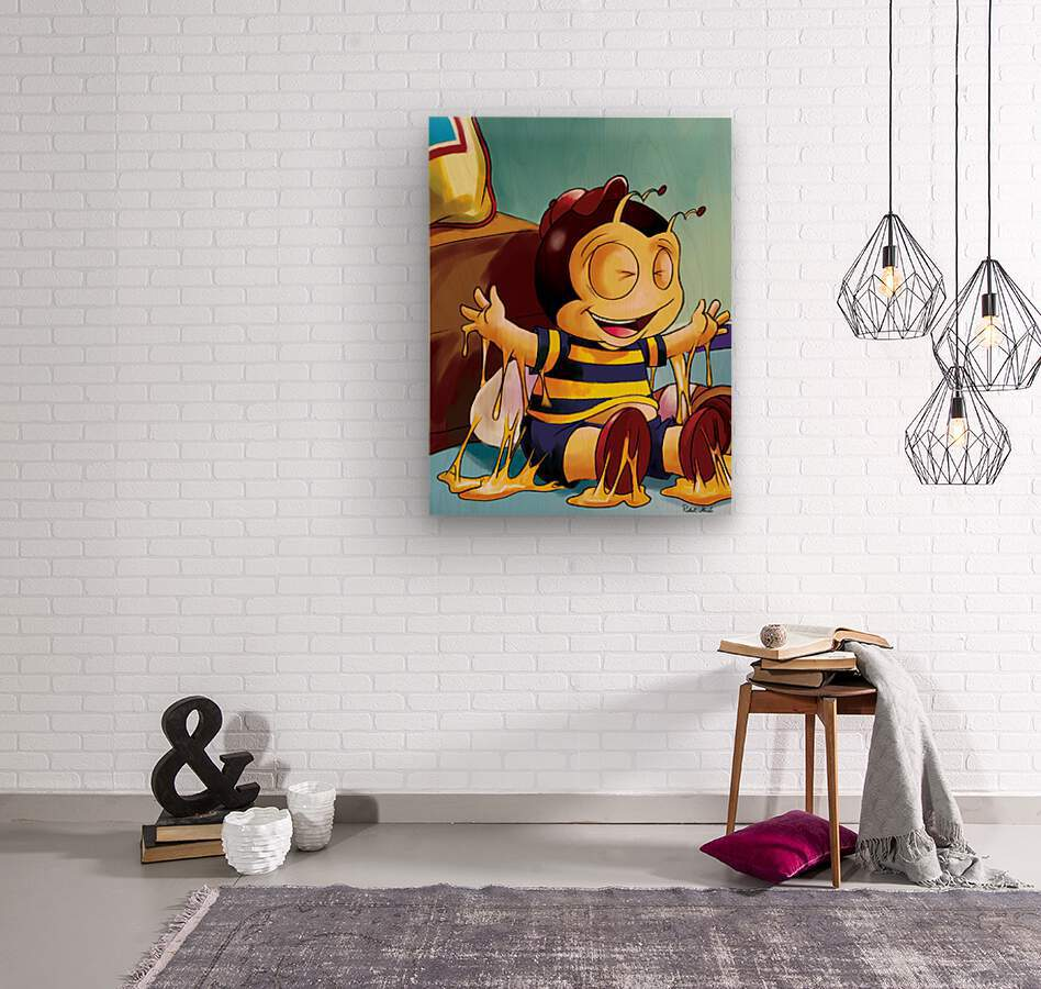 Sticky Mess - Too Much Honey Buster Bee  Wood print