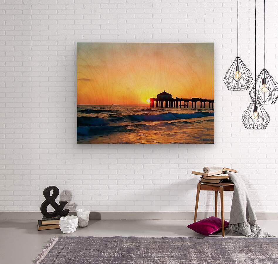 manhattan beach sunset wall art  Wood print