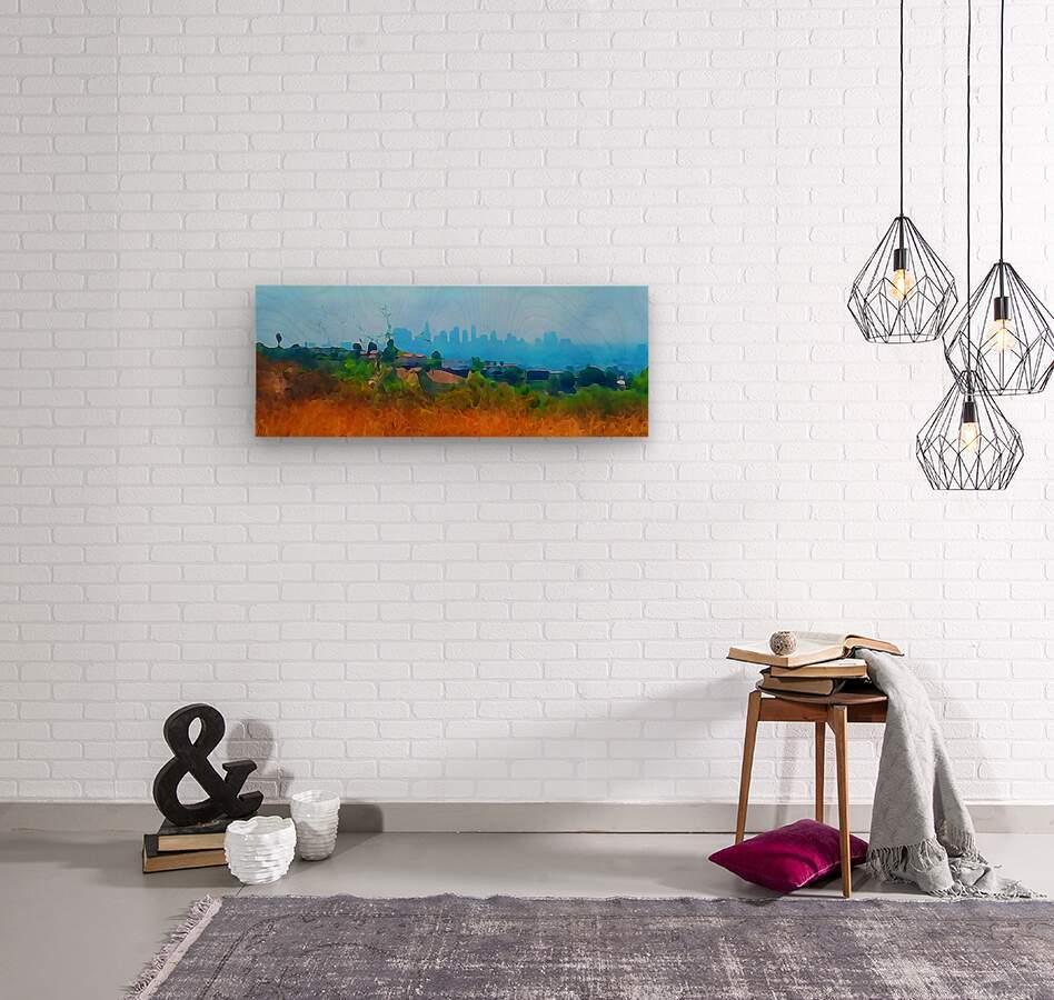 los angeles skyline art  Wood print