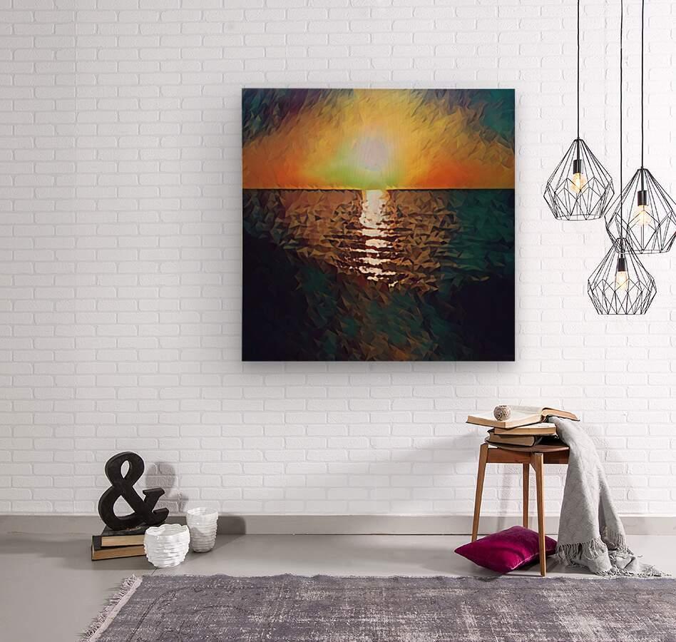 sunset art  Wood print