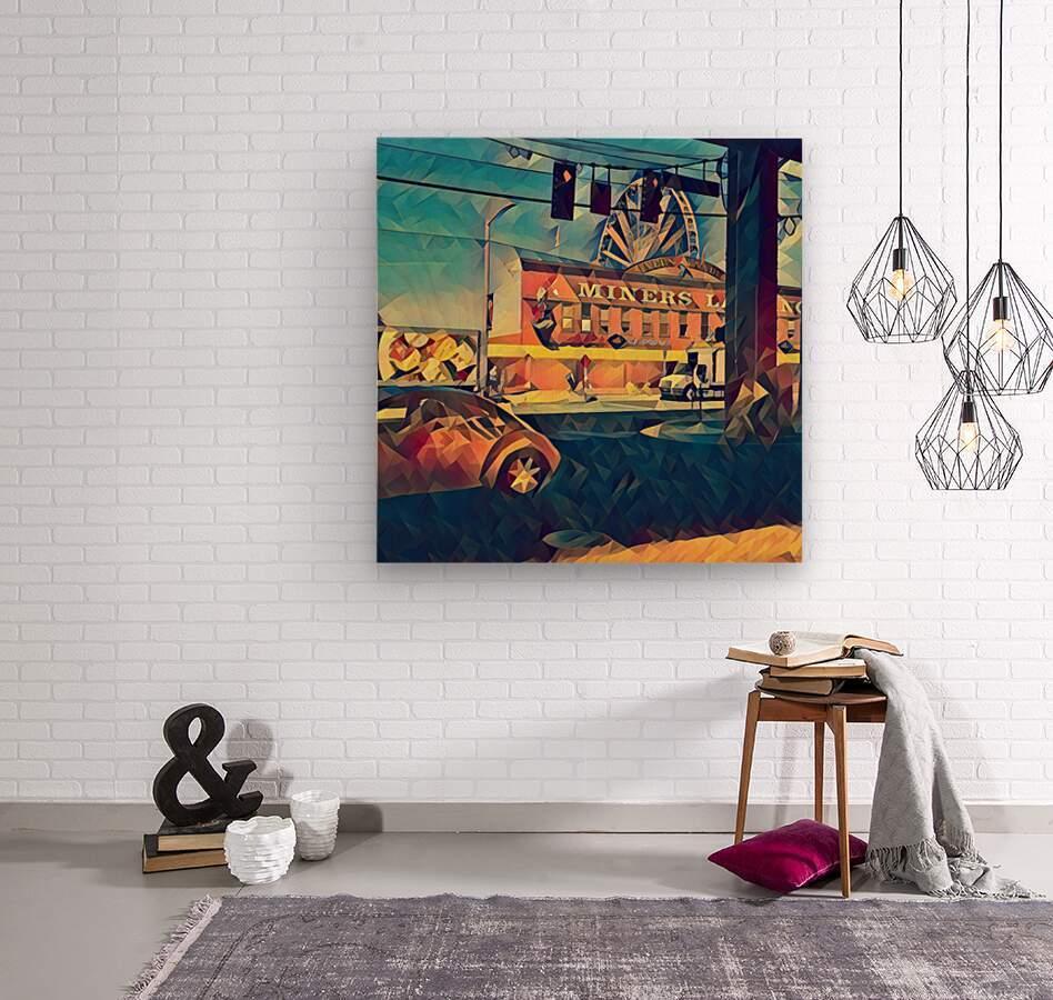seattle great wheel art  Wood print