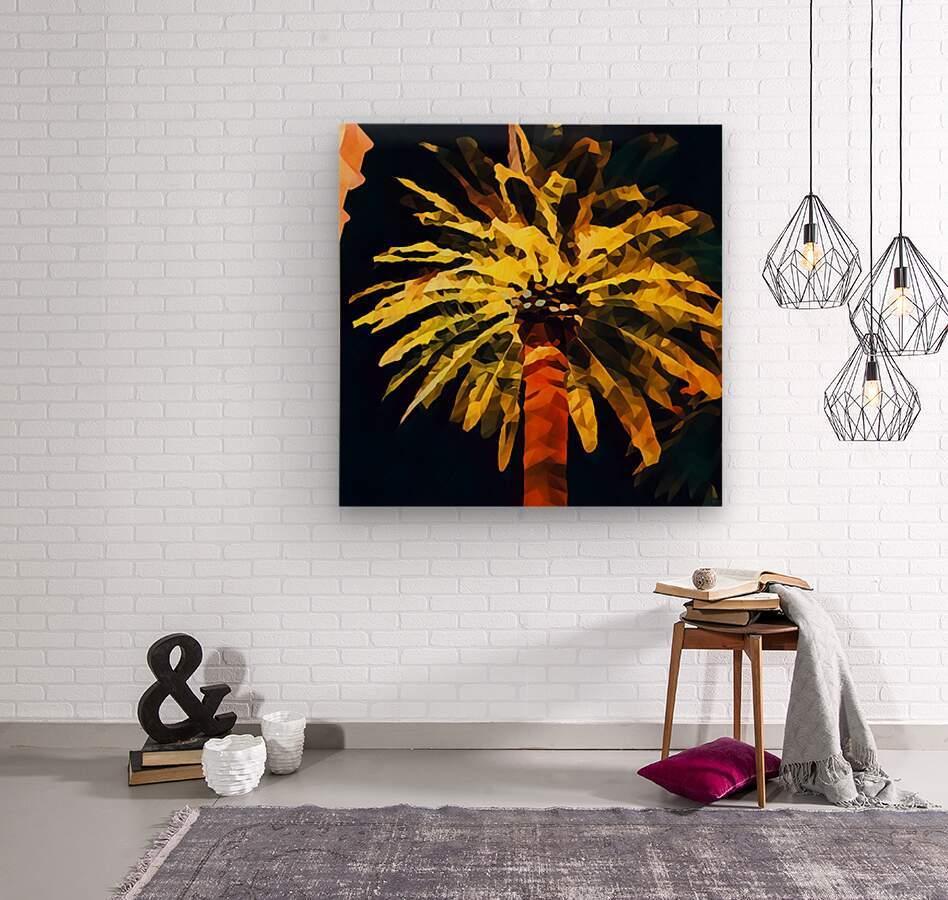 las vegas palm tree at night  Wood print