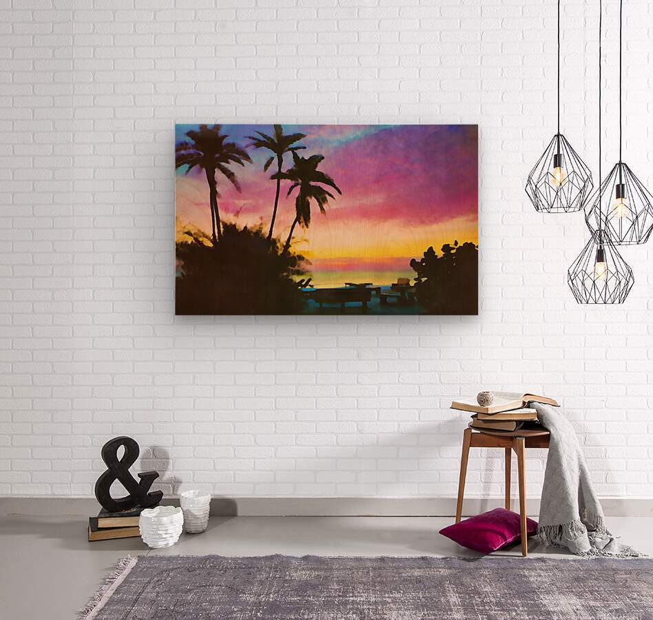 gulf of mexico sunset art  Wood print