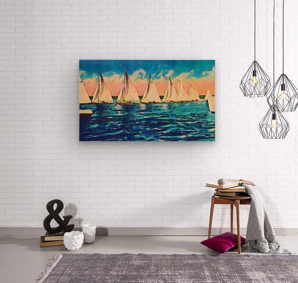 sail boats art  Wood print