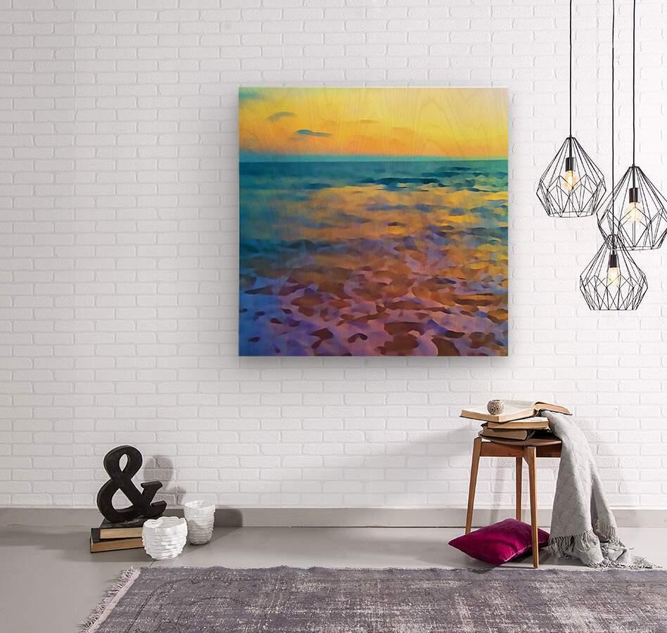 Yellow Sky at Manhattan Beach  Wood print